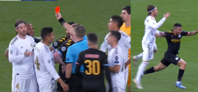 WATCH: RED CARD! Ramos Sent Off Against Man City In The Champions League.