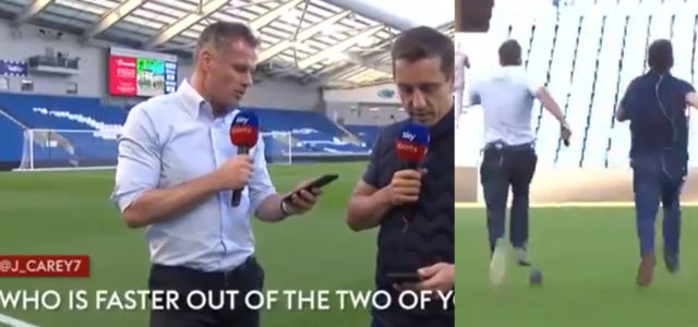 WATCH: Gary Neville And Carra Had A Race To See Who Is Faster And It's Brilliant!