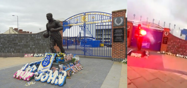 WATCH: Red Flare Set Off At Everton Memorial Statue Where Loved Ones Are Remembered