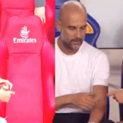 WATCH: Pep Spotted Talking To Himself During The Arsenal Game