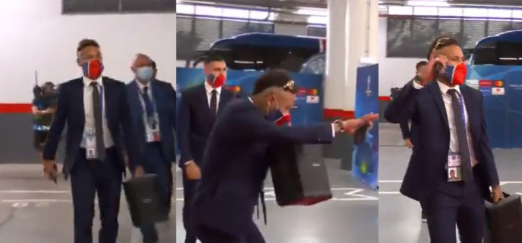 WATCH: Neymar Shows Up To UCL Final Dancing And Holding Massive Speaker Blasting Music